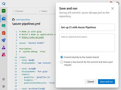 Onboard GitHub user to Azure Pipelines ux ui pipeline devops azure github onboarding