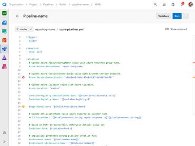 Pipeline Editor ui ux enterprise code editor pipeline devops azure
