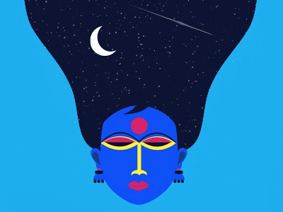 Free wallpaper - Dreamt a dream imagination moon night sky universe girl dream indian colors pop illustration wallpaper