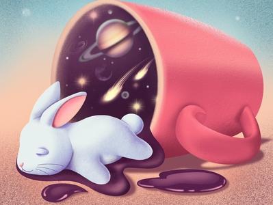 Sleeping Bunny design drawing procreate covid19 bunny