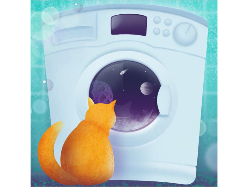 A cat amazed by the washing machine procreate app animal illustration design cat illustration procreate