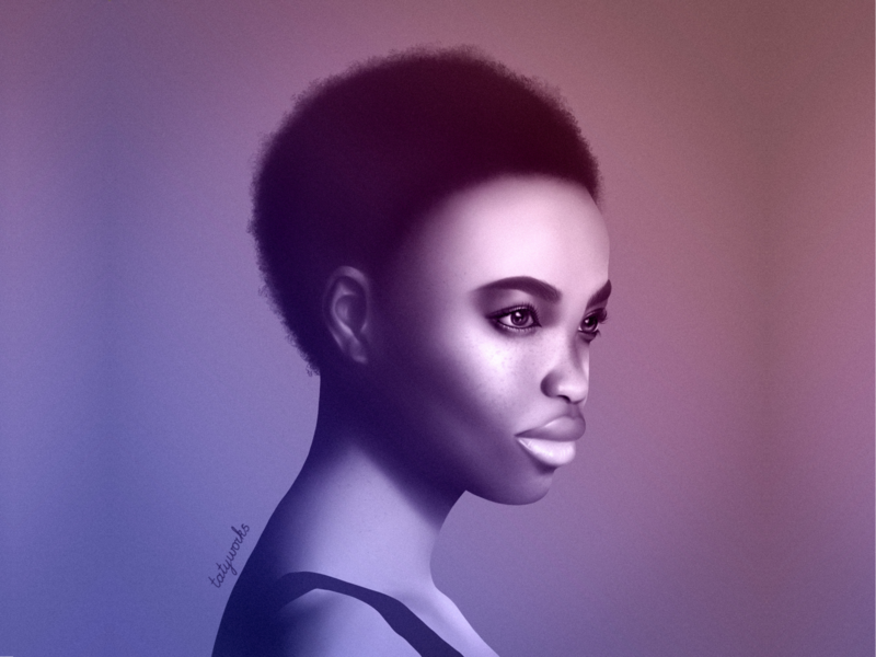 African beauty ipadproart illustraion realistic drawing realistic painting procreate