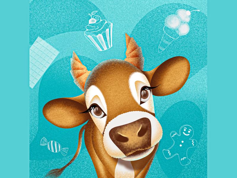 Cute Cow Illustration animal illustration animal art drawing procreate tutorial procreate app design procreate art ipadart procreate brushes procreate animal cow illustration