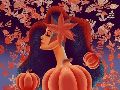 Autumn Queen procreate brushes illustration design autumn tutorial illustrations portrait ipadproart procreate app procreate tutorial drawing procreate art procreate illustration