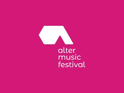 Alter Music Festival - Logo design, vertical version vertical a letter pink concert festival music vector signet minimal logo design brand identity logo design brand branding