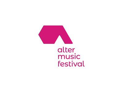 Alter Music Festival - Logo design, vertical version vertical alternative a letter pink concert festival music vector minimal signet logo design brand identity logo design brand branding