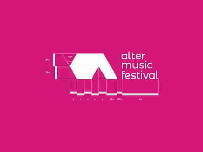 Alter Music Festival - Logo construction grid construction grid a letter pink concert festival music signet minimal logo design brand identity logo design brand branding