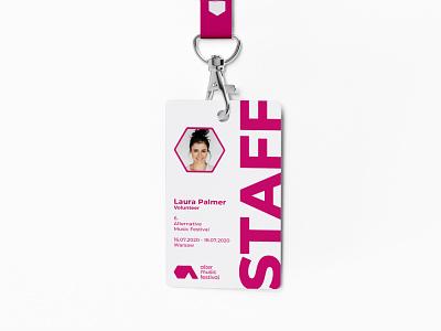 Alter Music Festival - Festival badge design badge a letter pink alternative concert festival music vector minimal logo design brand identity logo design brand branding