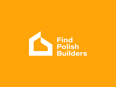 Find Polish Builders - Monochrome version white bold monochrome renovation construcion house home building builder build minimalist minimal logo design brand identity logo design brand branding