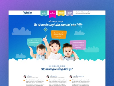 Website for Kid & Mom landing page milk mom kid