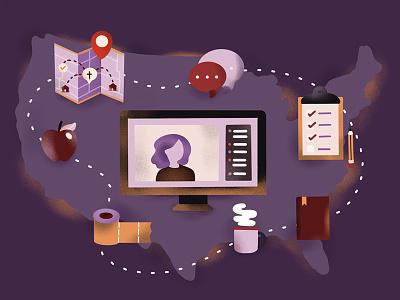 COVID-19 illustration chattanooga pandemic epidemic call checklist toiletpaper volunteer food chatt trello zoom map connect corona covid19