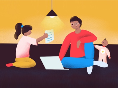 The New Normal remote work parenthood parents uiux ui dailyinspiration covid19 covid school illustration graphic designer stayhome