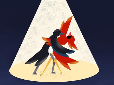 Dancing Birds design illustration chattanooga birds of prey robin spotlight dancing birds