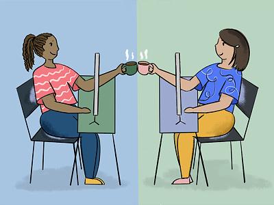 Virtual Hang chattanooga covid19 covid coffee friendship women office illustration design hangout zoom virtual