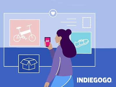 Indiegogo LinkedIn cover illustration shopping campaign crowdfunding indiegogo cover linkedin