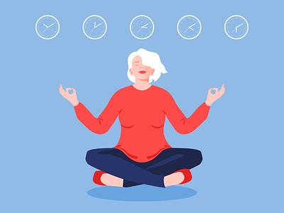 Office Meditation relax deadline mindful mindfulness meditation girl office illustrator minimal illustration editorial illustration