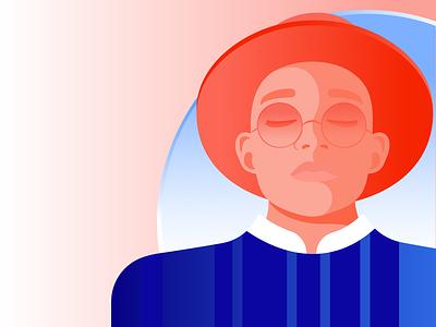 Man Portrait for Storytel fashion illustration hat guy man illustration minimal relax meditation mindfulness illustrator editorial illustration