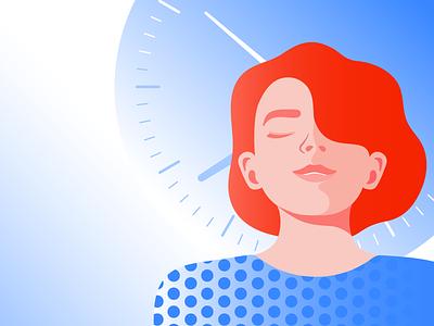 Illustration for Storytel office woman girl relax mindfullness mindful meditation illustration illustrator editorial illustration