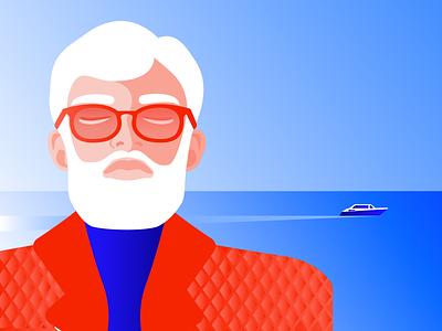 Illustration for Storytel vacation mindful fashion man relax old man bearded man meditation mindfulness minimal editorial illustration