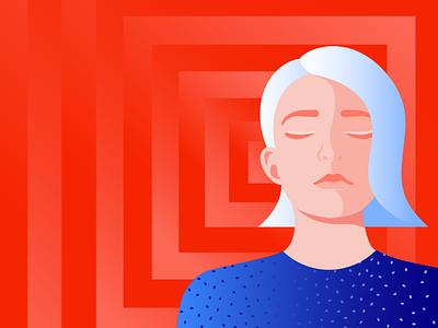 Ilustration for Storytel mindful fashion girl mindfulness meditation woman illustration minimal illustrator editorial illustration