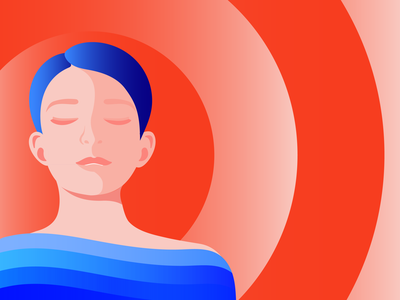 Illustration for Storytel relax girl woman fashion mindful mindfulness meditation minimal illustration editorial illustration