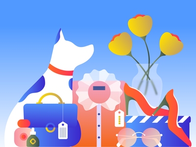 Editorial Illustration About Shopping gradient vector sunglasses vase bag perfume beauty flower blouse shoes minimal meditation illustration editorial illustration