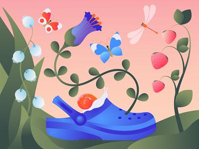 Summer berry flower butterfly summer crocs snail minimal illustration meditation editorial illustration