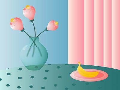 Dinner gradient stilllife vase vectorart flower food vector illustration minimal editorial illustration