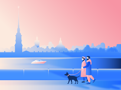 Saint Petersburg tourism boat dog walking gradient people city illustration saint petersburg minimal illustration editorial illustration