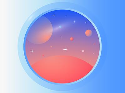 In Twenty Years planets simple future cosmos nasa space spaceship minimal illustration editorial illustration