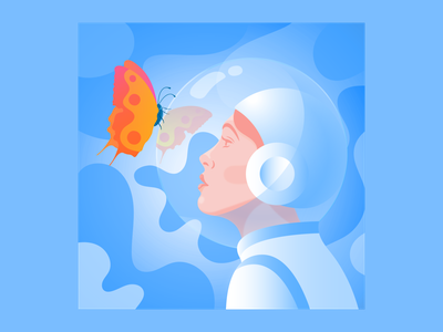 Regeneration future girlpower woman girl mindful metaphor regeneration butterfly space minimal editorial illustration