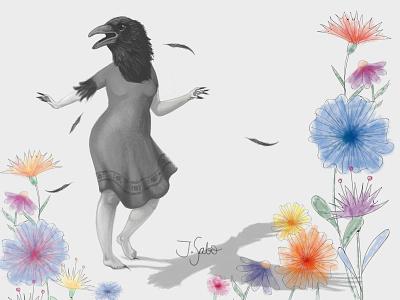 RUN! flower illustration flowers illustration feathers woman illustration crow watercolor illustrator photoshop character illustration character design characterdesign crow illustration crow woman