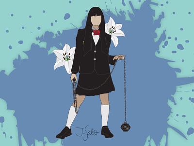 Gogo Yubari lilly illustrator vectorart vector illustration flat illustration flat design flatdesign fan art characterdesign kill bill gogo illustration gogoyubari