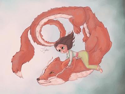 The Fox Dragon (revised) fantasy art fan art fanart fantasy hayao miyazaki wolf dragon haku dragon haku character illustration character design dragon illustration children book illustration characterdesign photoshop studioghibli ghibli