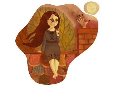 Gretel in trouble digital illustration digital painting photoshop painting fairytale illustrator character design illustration children book illustration childrens illustration characterdesign hansel and gretel
