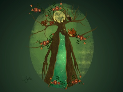 The Moon God photoshop painting photoshop character design forest forest illustration forest animals