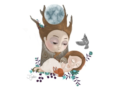 My Father is the Moon God.  He Watches Over Me While I Sleep. moon god moon fox fox illustration owl illustration photoshopart girl character illustration illustrator childrens book children book illustration childrens illustration characterdesign character design