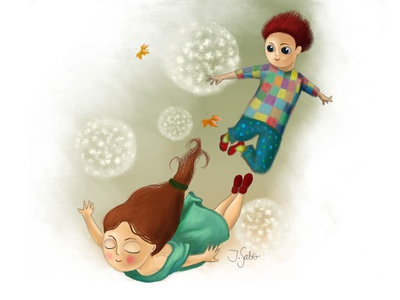 My Brother is the Wind Knight dandelions boy illustration childrens book illustration girl character girl illustration illustrator childrens illustration children book illustration characterdesign character design