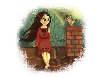 Gretel in Trouble woman illustration illustration girl illustration girl character childrens book illustrator childrens illustration children book illustration characterdesign character design