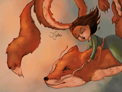 The Fox Dragon dragonillustration foxdragon illustration photoshop girl illustration girl character childrens book illustrator childrens illustration children book illustration characterdesign character design inspiredbyghibli