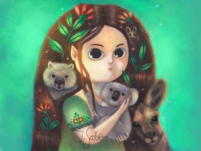 Among Friends artforkids kangaroo dunnart wombat koala bear koalas marsupial photoshop illustration girl illustration girl character childrens book illustrator childrens illustration children book illustration characterdesign character design