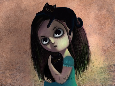 Happy Halloween big eyes black cat illustration blackcat photoshop illustration girl illustration girl character childrens book illustrator childrens illustration children book illustration characterdesign character design