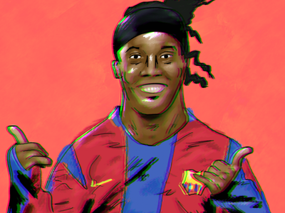 JOGA BONITO - Ronaldihno brazil barcelona illustration football soccer