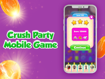 Crush Party Casual Mobile Game mobile game candy casual game game design splashscreen design app ui mobile ui mobile app design animation