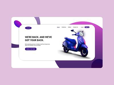 Chetak Web UI exploration concept modern design website landingpage uiuxdesign bike scooter webdesign mockup uiux web ui
