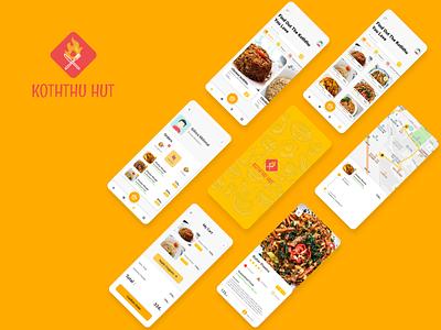 Koththu Hut app UI UX design healthyfood foodie food delivery app food delivery food app food e-comerce eat mobile app branding mockup concept design modern ui appdesign uiuxdesign uiux