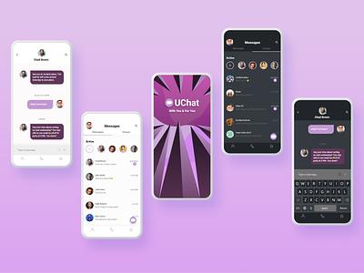 UChat app UI/UX mobile ui dark theme ui dark theme dark mode dark chat mockup mobile app appdesign uiux ui design modern concept