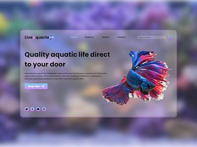 Landing page UI for online tropical fish aquarium aqua webdesign fish uiuxdesign uiux modern design concept ui landingpage