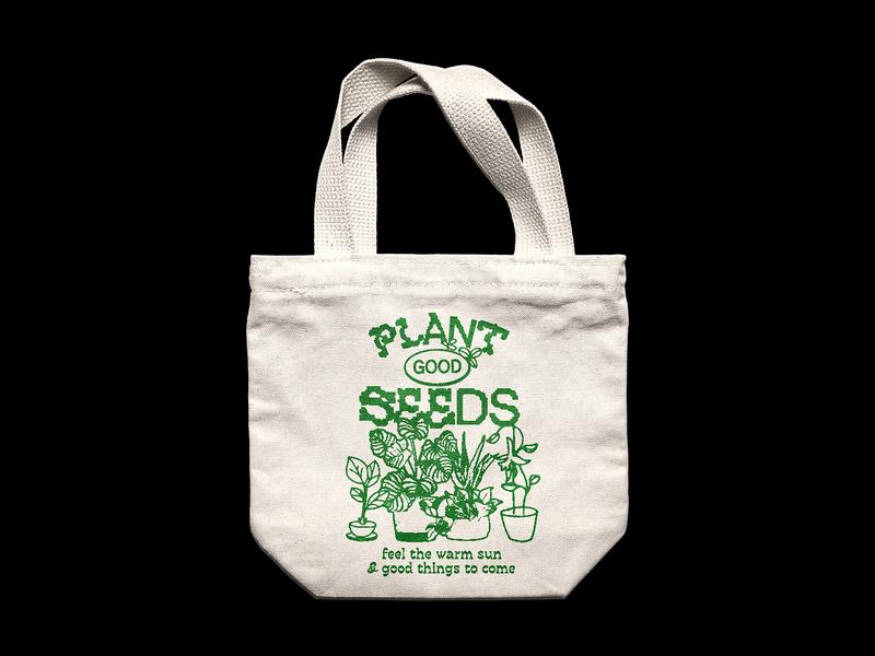 Plant Good Seeds sunny vegan ethical tote bag green wholesome plant illustration vintage typography illustration design apparel advertisement