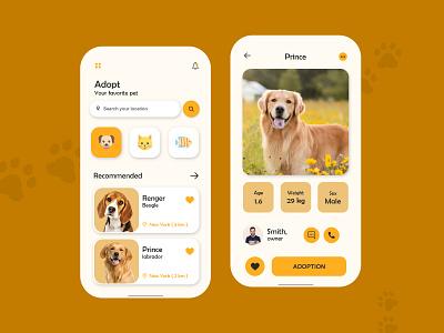 Pet Adoption App Design petapp petshop pet care